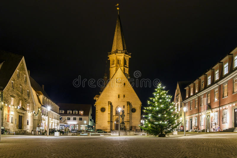 Marketplace of the historic town of Weikersheim, Baden-Wurttemberg, Germany. The center of old town Weikersheim, Germany, Europe. The center of town Weikersheim stock images