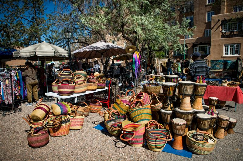 Marketplace. The Marketplace in Santa Fe, New Mexico. Market in the creative city of Santa Fe New Mexico USA as seen in a sunny day. You can find here anything stock photo