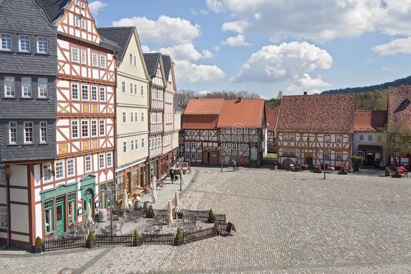 The marketplace in the open air museum Hessenpark stock photography