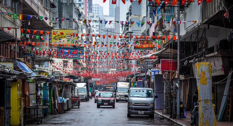 Marketplace ready to set in Hong Kong stock photography