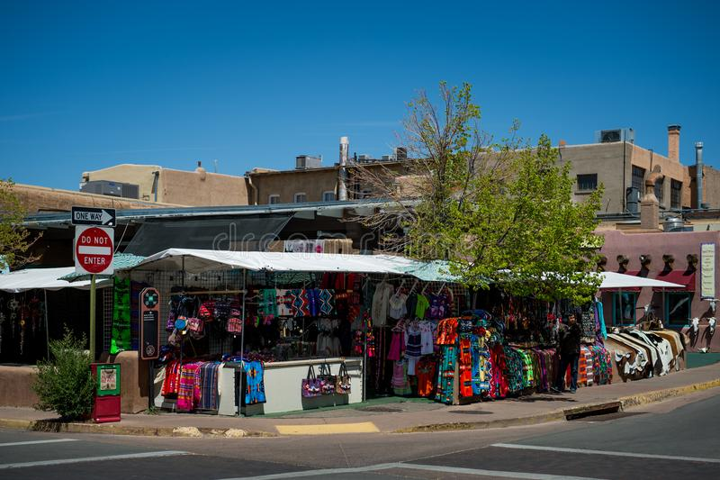 The Marketplace in Santa Fe, New Mexico. The Creative City of Santa Fe In New Mexico with its multitude of Galleries and Sculpture. Santa Fe Colors. Traditional stock photo
