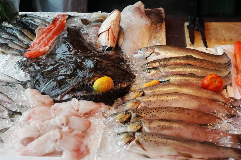Marketplace With Seafood Royalty Free Stock Photo