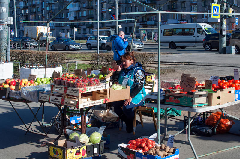 Marketplace at the street in residential district of the Saint Petersburg, Russia royalty free stock photos