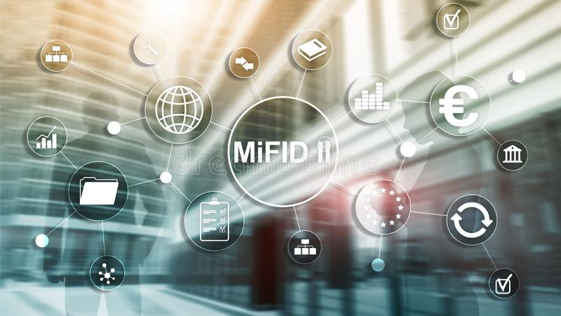 The Markets in Financial Instruments Directive. MiFID II. Investor protection concept. The Markets in Financial Instruments Directive. MiFID II. Investor royalty free illustration