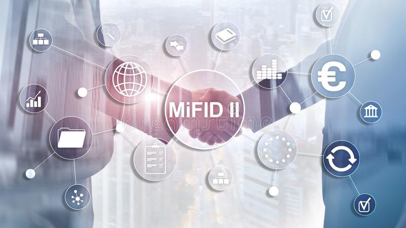 The Markets in Financial Instruments Directive. MiFID II. Investor protection concept. The Markets in Financial Instruments Directive. MiFID II. Investor stock illustration