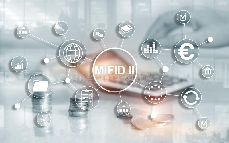 The Markets in Financial Instruments Directive. MiFID II. Investor protection concept. The Markets in Financial Instruments Directive. MiFID II. Investor vector illustration