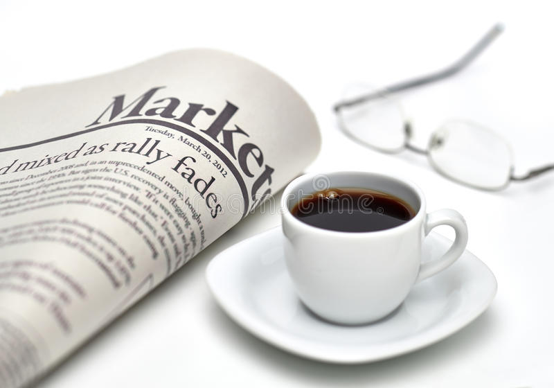 Markets newspaper with coffee royalty free stock images