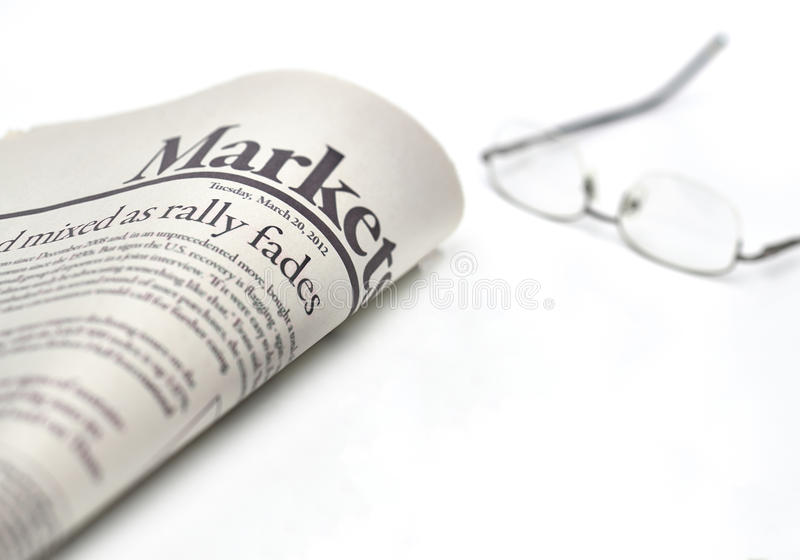 Markets newspaper with copyspace royalty free stock photos