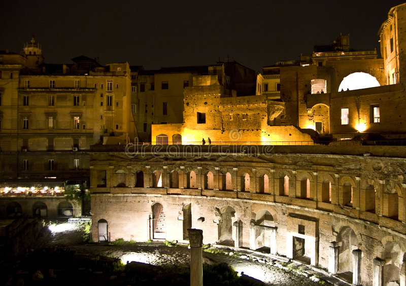 Markets of Trajan by night stock photography