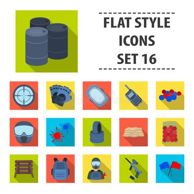 Markier dla paintball, wyposażenia, piłek i innych akcesoriów dla gry, Paintball pojedyncza ikona w mieszkanie stylu wektorze royalty ilustracja