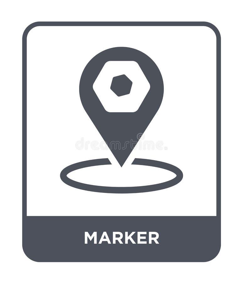 markier ikona w modnym projekta stylu Markier ikona Odizolowywająca na Białym tle markier wektorowej ikony prosty i nowożytny pła ilustracja wektor
