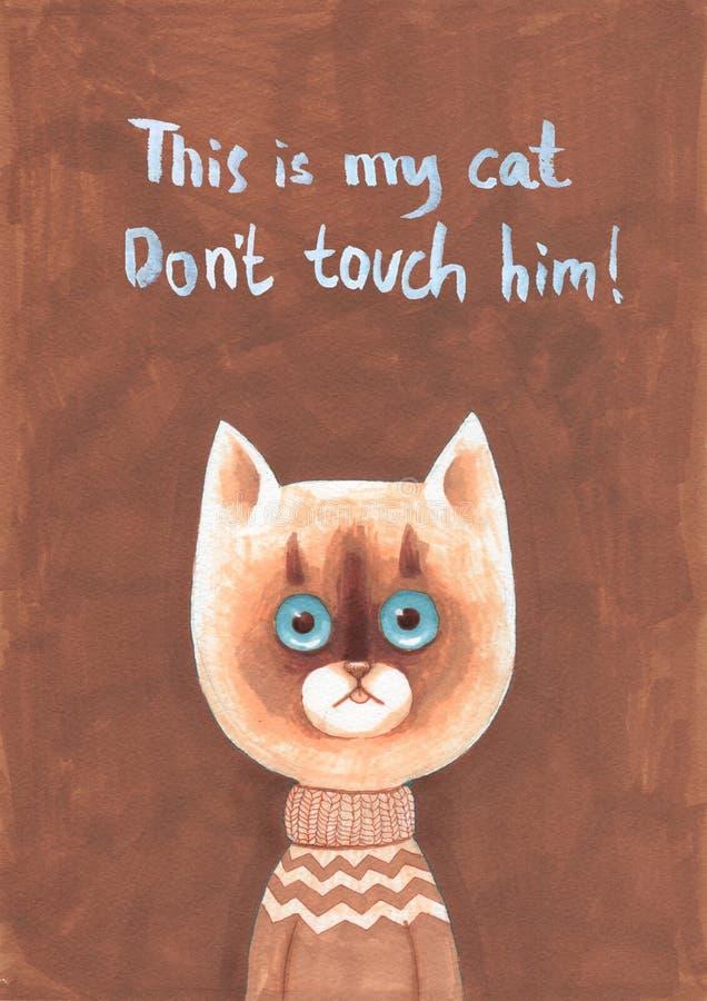 Markier ilustracja kreskówki kota ilustraci wektoru kolor żółty ilustracji