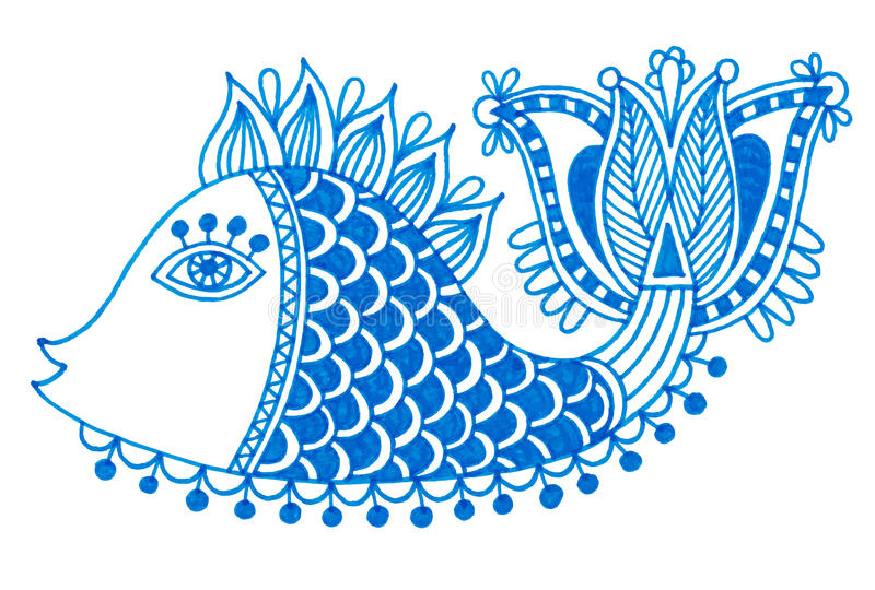 Markiera rysunek dekoracyjna doodle ryba royalty ilustracja