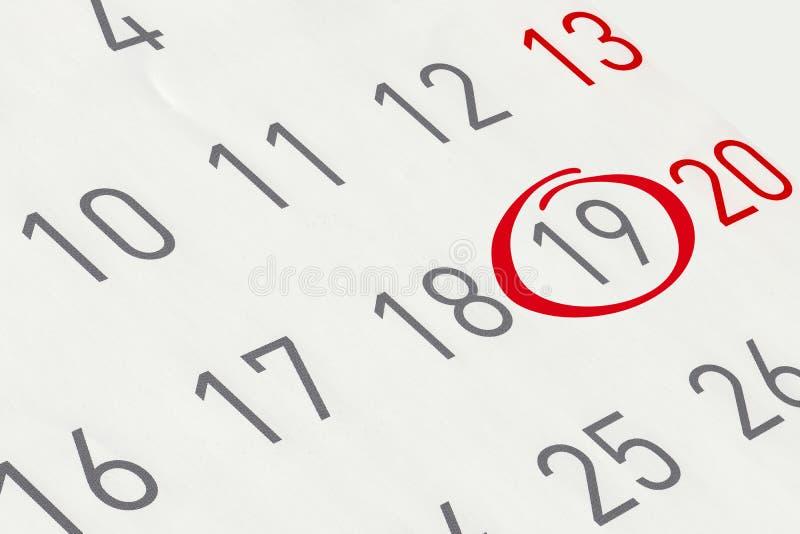 Markieren Sie das Datum Nr. 19 stockfotos
