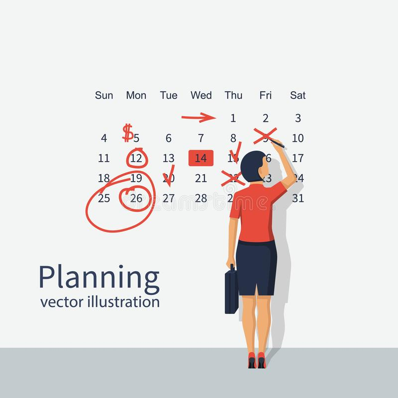 Markieren Sie Kalendervektorfrau stock abbildung