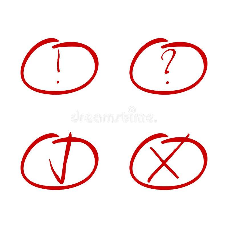 Markieren Sie rote Markierung Zecken- und Kreuz-, Ausrufs- und Fragensymbol stock abbildung