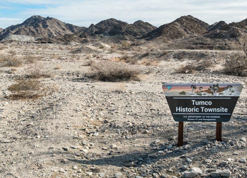 Markierung am historische Stadtstandort von Tumco stockfoto