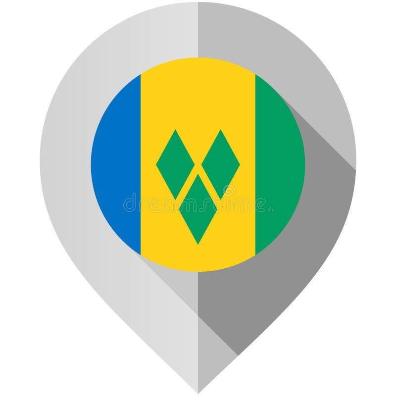 Markierung mit Flagge für Karte stock abbildung