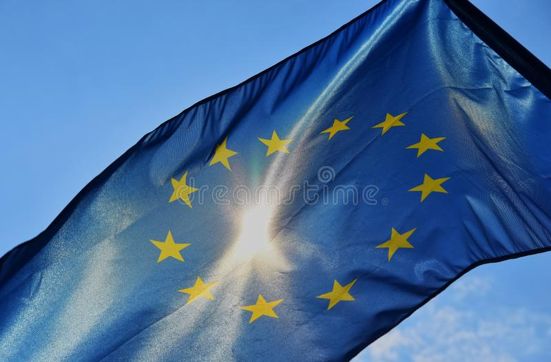 Markierungsfahne der Europäischen Gemeinschaft stockfoto