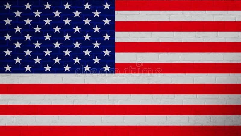 Markierungsfahne der Staaten von Amerika USA-Staatsflagge auf Backsteinmauerbeschaffenheitshintergrund Strukturierter Hintergrund stock abbildung