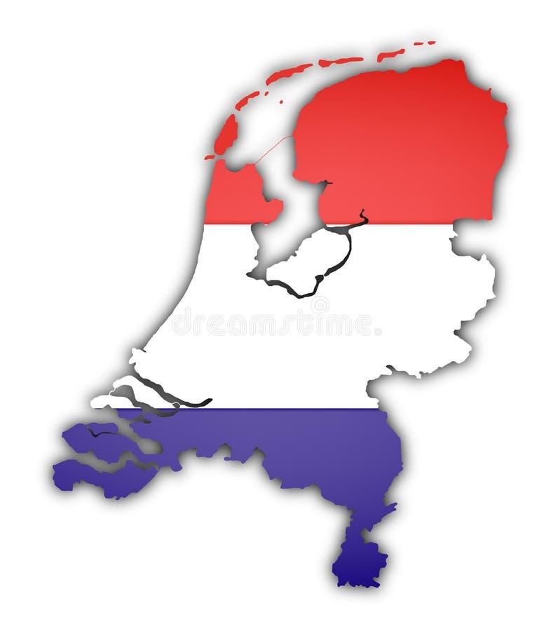 Markierungsfahne und Karte von den Niederlanden stock abbildung