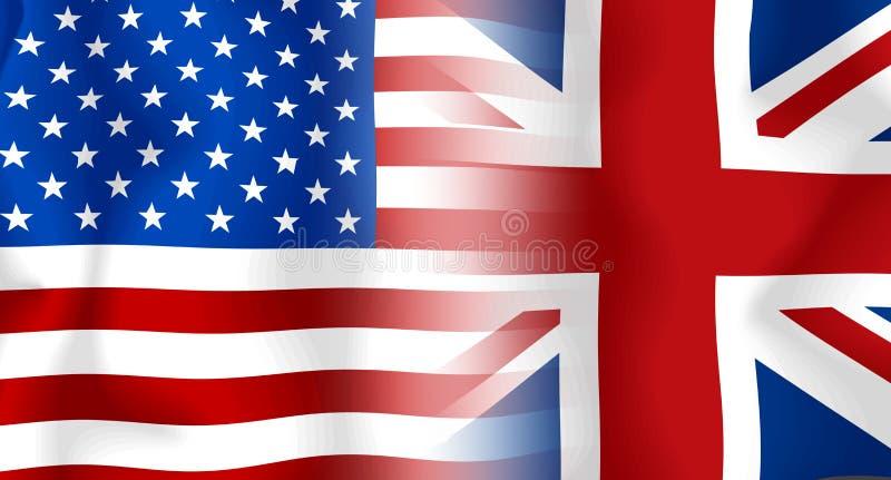 Markierungsfahne USA-Großbritannien lizenzfreie abbildung