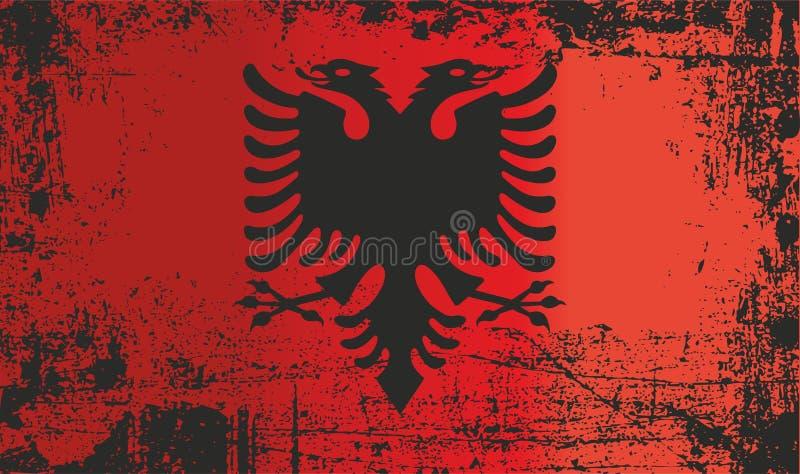 Markierungsfahne von Albanien Geknitterte schmutzige Stellen stock abbildung