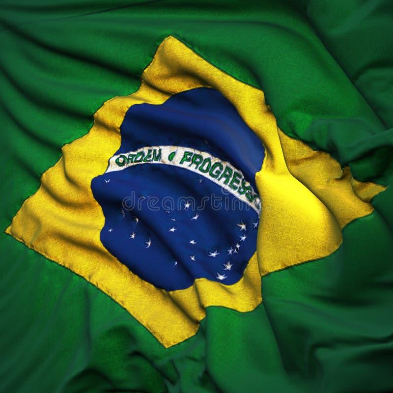 Markierungsfahne von Brasilien, flatternd lizenzfreie abbildung