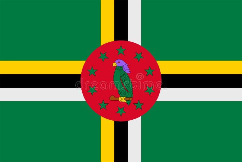 Markierungsfahne von Dominica Flagge des souveränen Staats von Dominica vektor abbildung