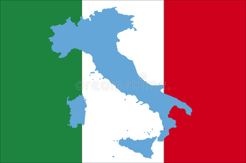 Markierungsfahne von Italien mit blauer Karte lizenzfreie abbildung