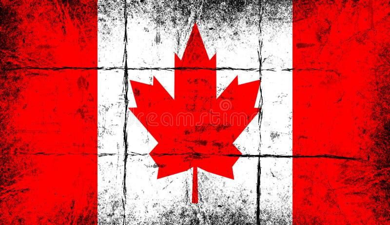 Markierungsfahne von Kanada Patriotischer alter Schmutzweinlesehintergrund vektor abbildung