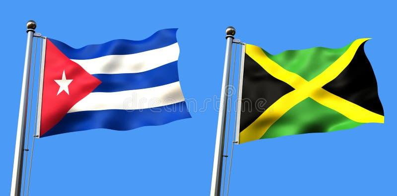 Markierungsfahne von Kuba und von Jamaika lizenzfreie abbildung