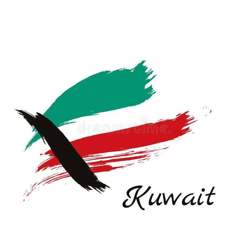 Markierungsfahne von Kuwait Vektorabbildung auf weißem Hintergrund Schöne Bürstenanschläge Abstrakter Begriff Elemente für Ausleg lizenzfreie abbildung