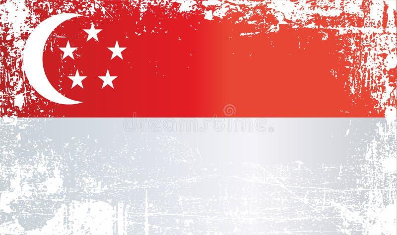 Markierungsfahne von Singapur Geknitterte schmutzige Stellen lizenzfreie abbildung