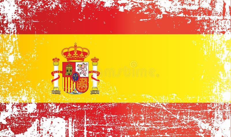 Markierungsfahne von Spanien Königreich von Spanien, geknitterte schmutzige Stellen stock abbildung