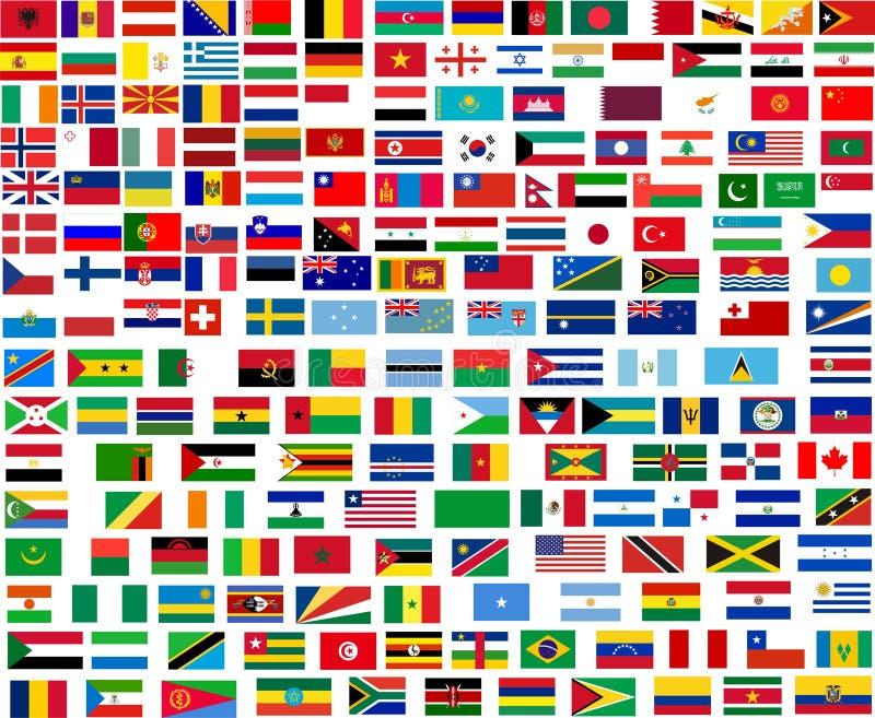 Markierungsfahnen aller Weltländer stock abbildung