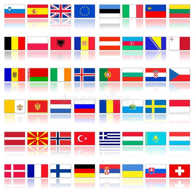 Markierungsfahnen der europäischen Länder stock abbildung