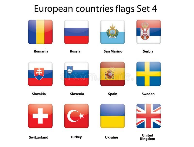 Markierungsfahnen der europäischen Länder stellten 4 ein stock abbildung