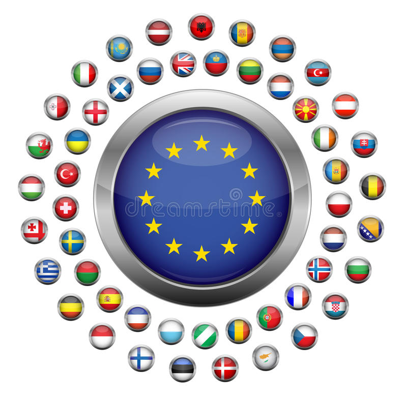 Markierungsfahnen des europäischen Landes stock abbildung