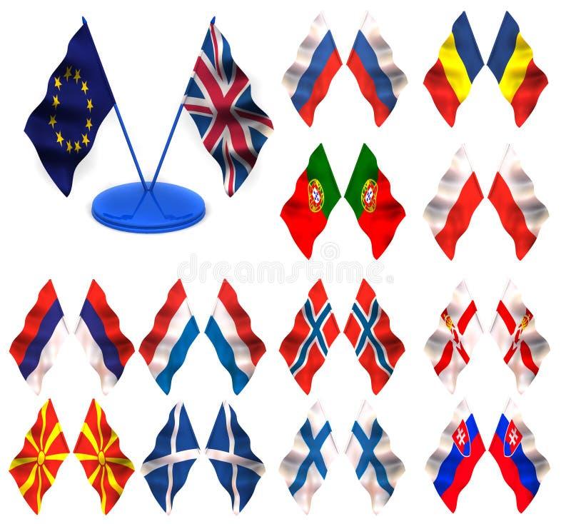 Markierungsfahnen. Schweden, Spanien, Jugoslawien, Slowenien, deutsch lizenzfreie abbildung