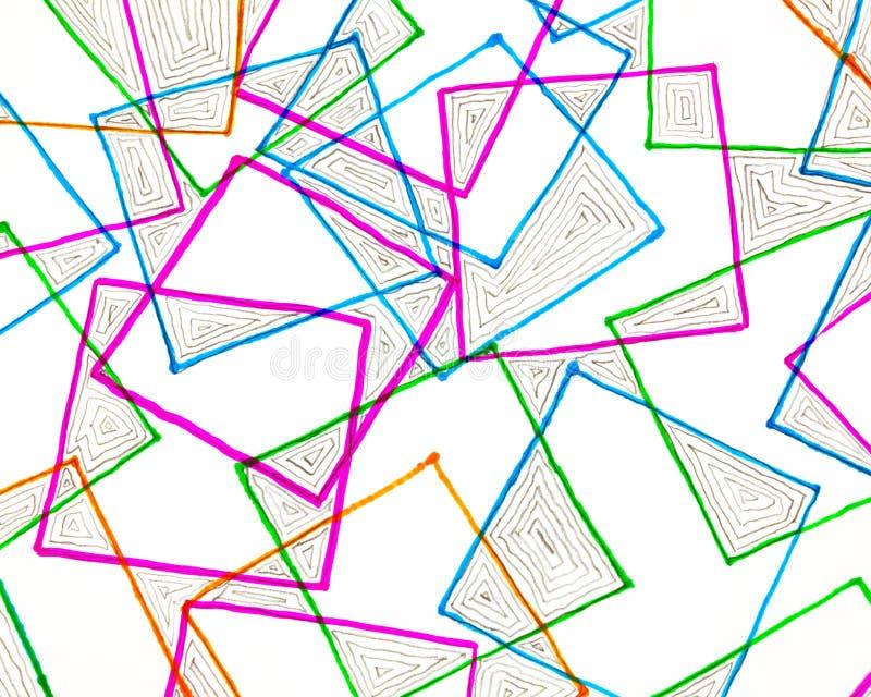 Markierungsfederzeichnung von Quadraten stock abbildung