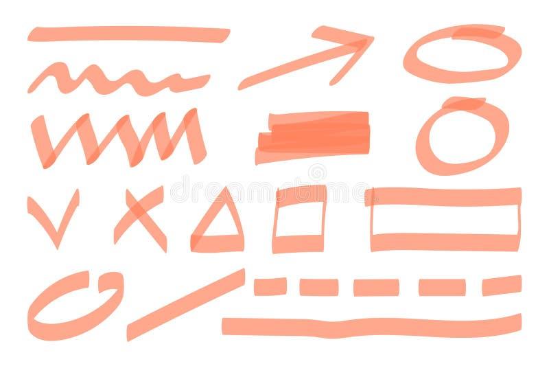 Markierungsleuchtmarkerelemente Handgezogene Formlinie vektor abbildung