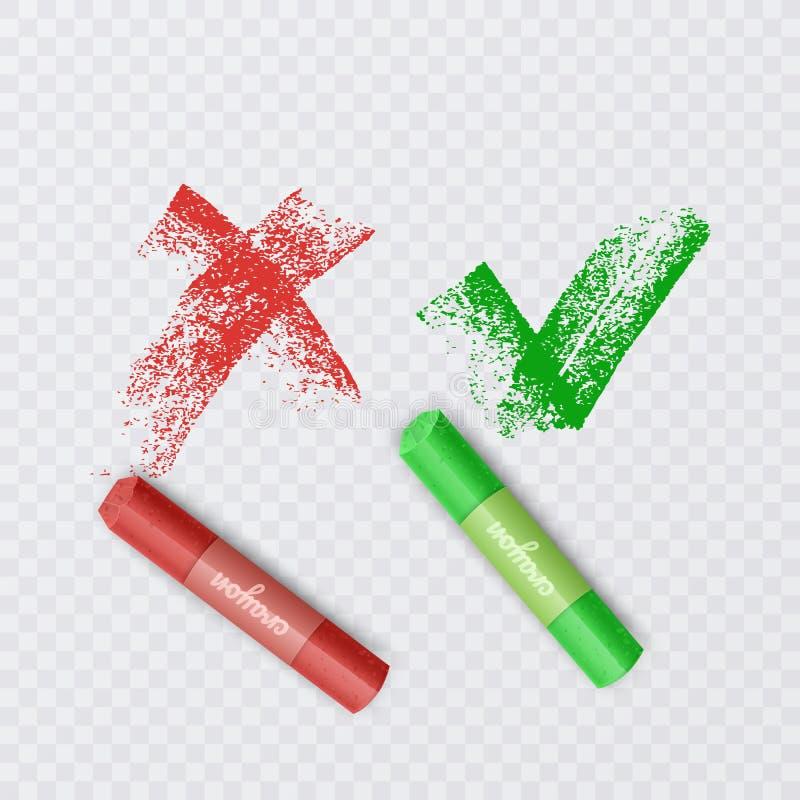 Markierungszeichen auf schwarzer Schultafel, Chalk Checkmark und X oder Confirm and Deny Icon, Vector EPS 10 Abbildung vektor abbildung