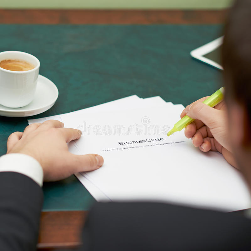 Marking words in a business cycle definition royalty free stock images