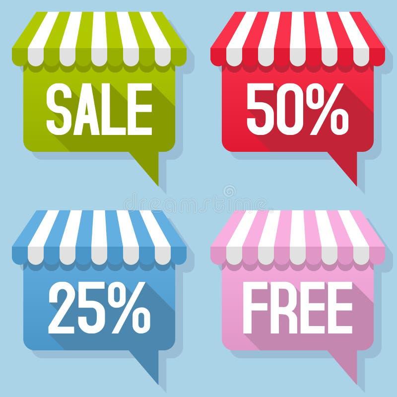 Markisen-Sprache-Blasen-Verkaufs-freier Satz lizenzfreie abbildung