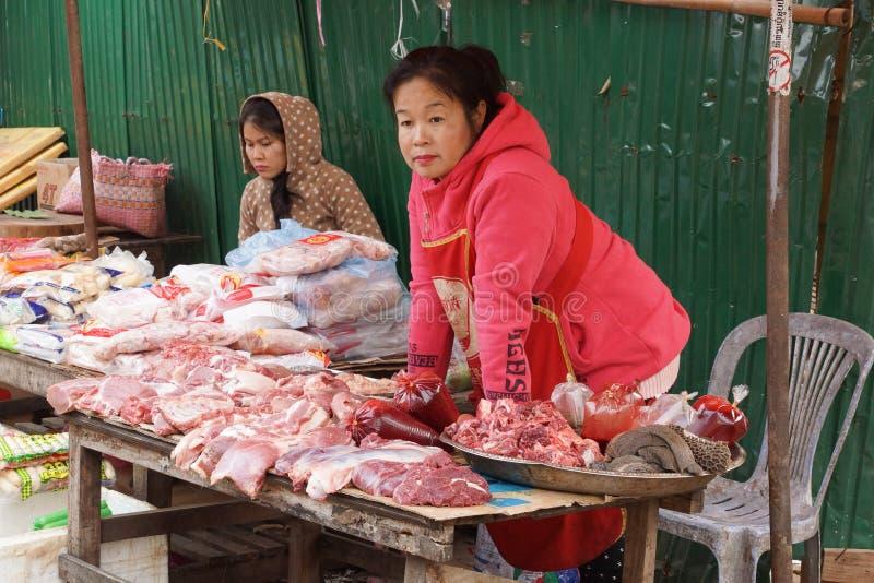 Marknad för öppen luft, Luang Prabang, Laos royaltyfri fotografi