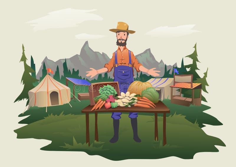 Marknad för bonde` s, bymässa Ett mananseende bak en räknare med grönsaker som är fullvuxna på lantgården Isolerad vektor stock illustrationer