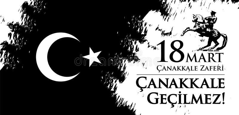 Marknad för Canakkale zaferi 18 Översättning: Turkisk nationell ferie av dagen för mars 18, 1915 den ottomanCanakkale segern stock illustrationer