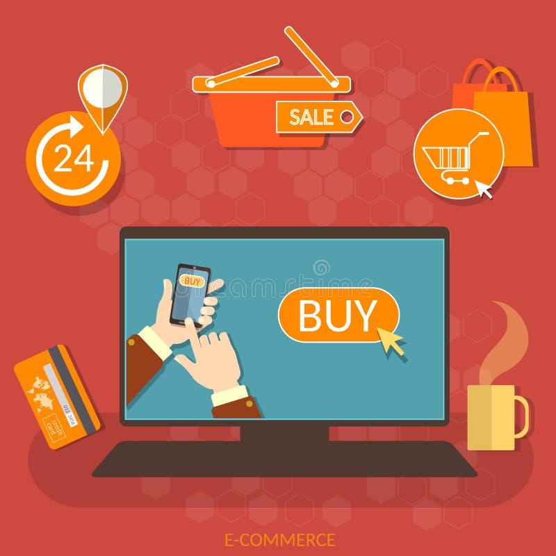 marknad för internet för begrepp för E-kommers online-shoppingköp nu royaltyfri illustrationer
