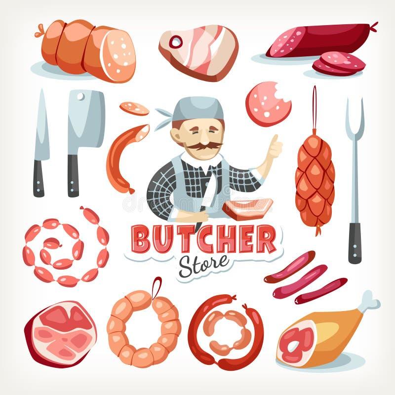 Marknad för livsmedelsbutik för lager för slaktare för korvkött stock illustrationer